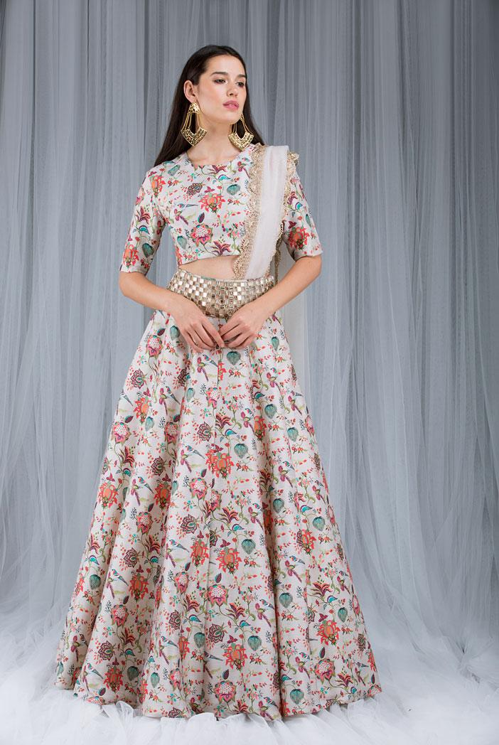 PS-DF015 Khaki Chidiya Print Lehenga Set