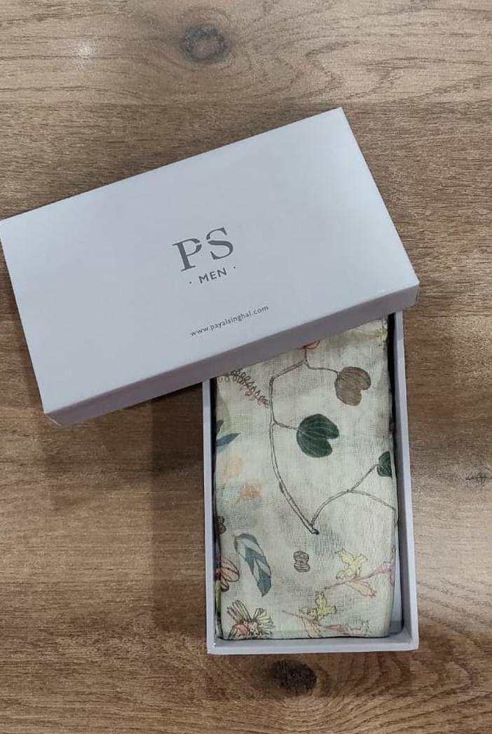 PS-PS120  Khaki colour printed silkmul pocket square