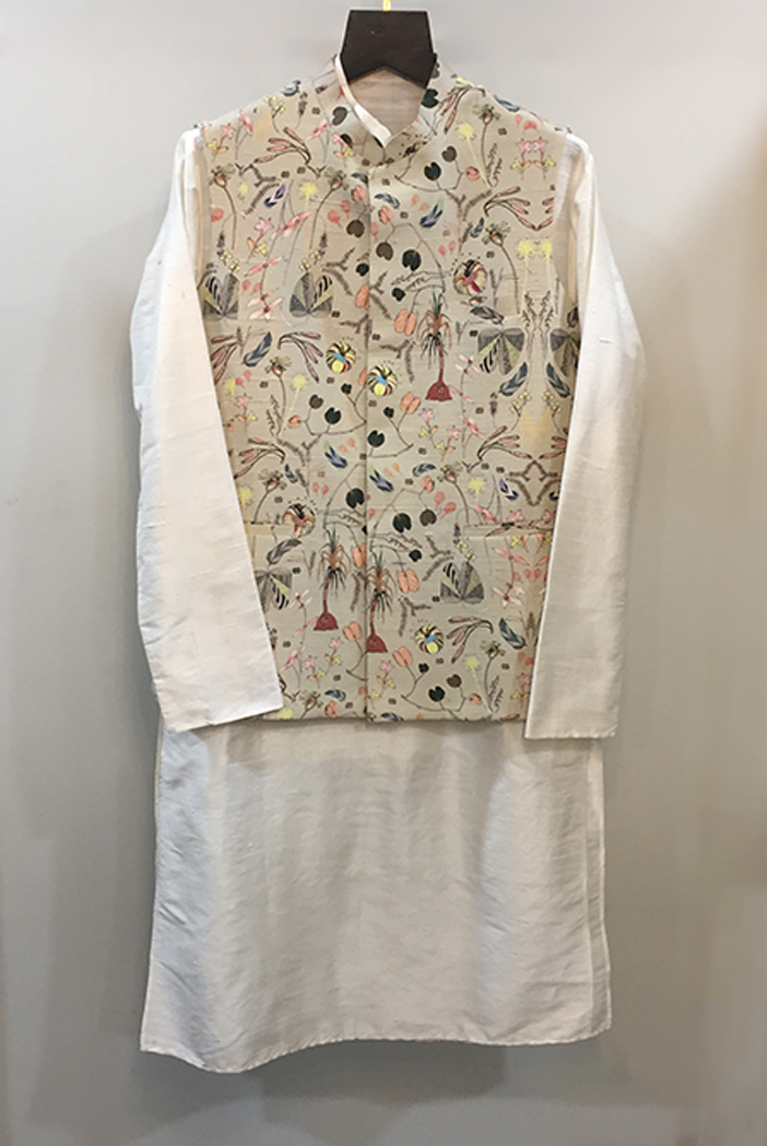 PS-MN262-2  Khaki Printed Dupion Silk Bandi and Off-White Colour Dupion Silk Kurta with Cotton Silk Churidar