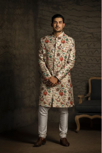 PS-MN086 Khaki Printed Dupion Silk Sherwani with Off White Cotton Silk Churidar