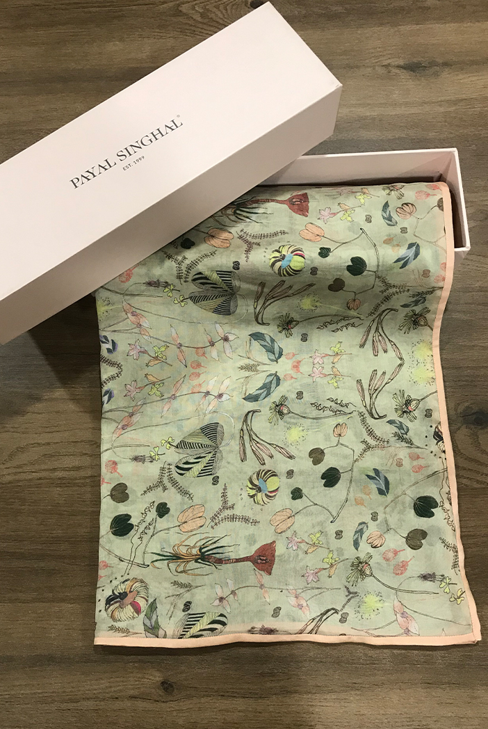 PS-SC0040  Khaki Forest Print Full Width Scarf