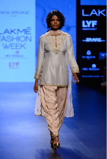 PS-FW403 Kismat Dove Grey Silk Kurta with Blush Silk Salwar and Tulle Dupatta