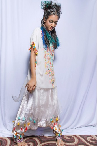 PS-FW679 Kiya Chalk White Georgette and Organza Kaftaan Tunic with Velvet Low Crotch Pant