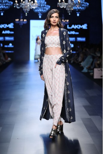 PS-FW440 Kris Blush Printed Crepe Bustier and low Crotch pant with Navy Silk Duster Jacket