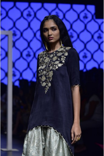 PS-FW494 Kyra Black Silk High-Low Kurta with Mint Brocade Salwar and Mint Chiffon Dupatta