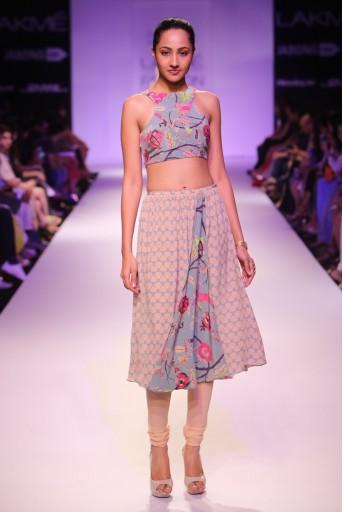 PS-FW262 Lamya Blush and Blue Printed Crepe Choli with Churidar Skirt