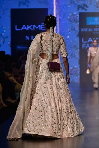PS-FW551 Larisa Stone Velvet Choli and Lehenga with Organza and Chanderi Stripe Dupatta