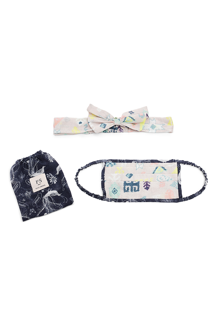 PS-HM0018  Lavender Lime Bandhani Kilim And Navy Jannat Print Pleated 3 Ply Mask With Pouch And Hairband Set