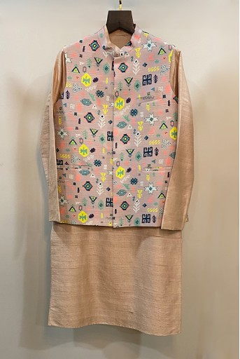 PS-MN264-2  Lavender Lime Colour Printed Dupion Silk Bandi with Stone Colour Dupion Silk Kurta and Off White Colour Cotton Silk Churidar
