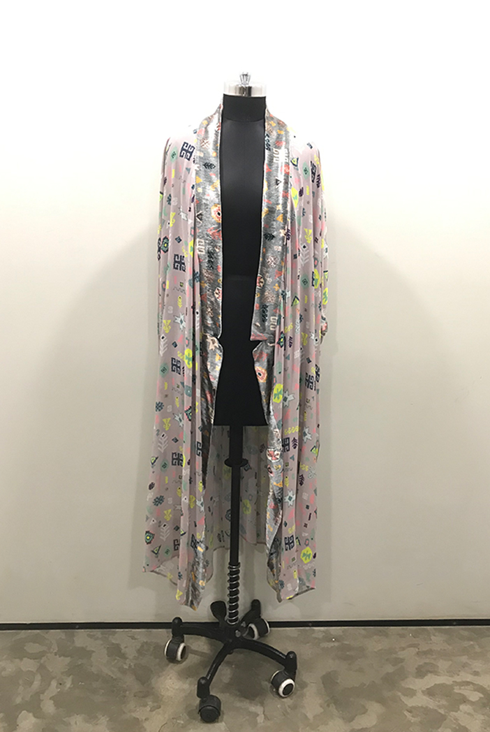 PS-JK0014-G-1  Lavender Lime Colour Printed Georgette Kimono Jacket with Grey Colour Printed Velvet Border