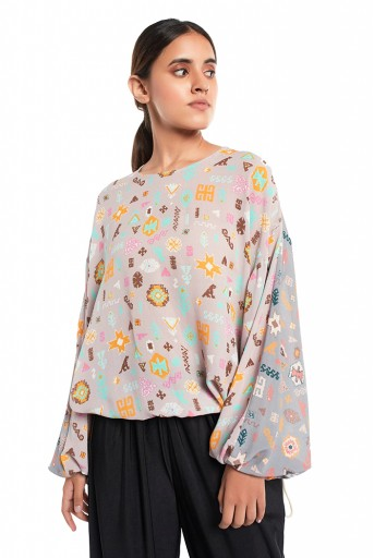 PS-TP0036-E  Lavender Orange and Grey Colour Printed Art Georgette Top with Drawstring Details