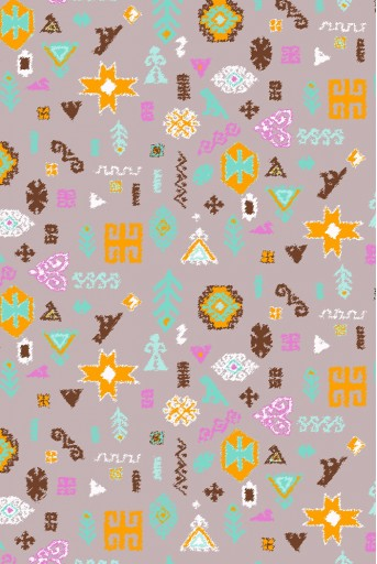 PS-SC0038  Lavender Orange Bandhani Kilim Print Full Width Scarf
