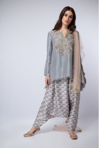 PS-ST1216 Lavender Silk High-Low Kurta with Blush Printed Silk Low crotch Pant and Blush Net Dupatta