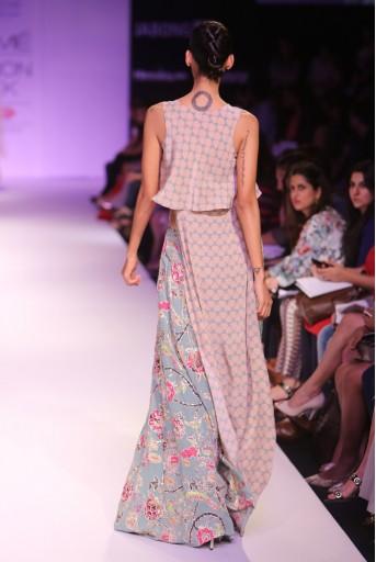 PS-FW269 Leela Blush and Blue Printed High Low Top with Printed Sharara Pant