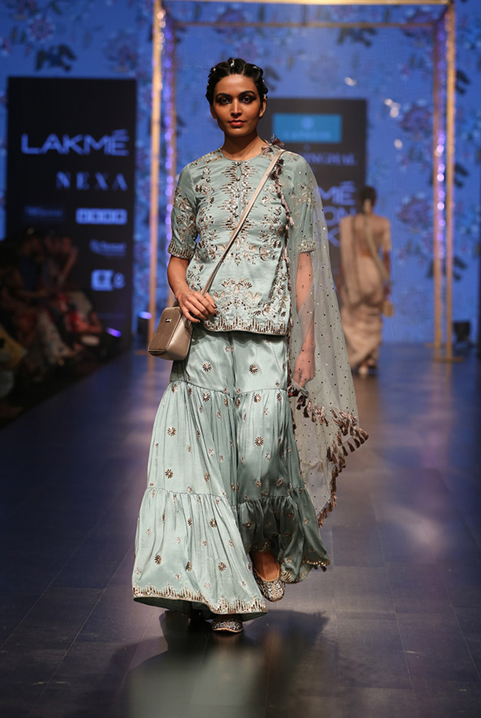 PS-FW553 Liana Periwinkle Blue Silk Kurta with Sharara and mukaish Net Dupatta
