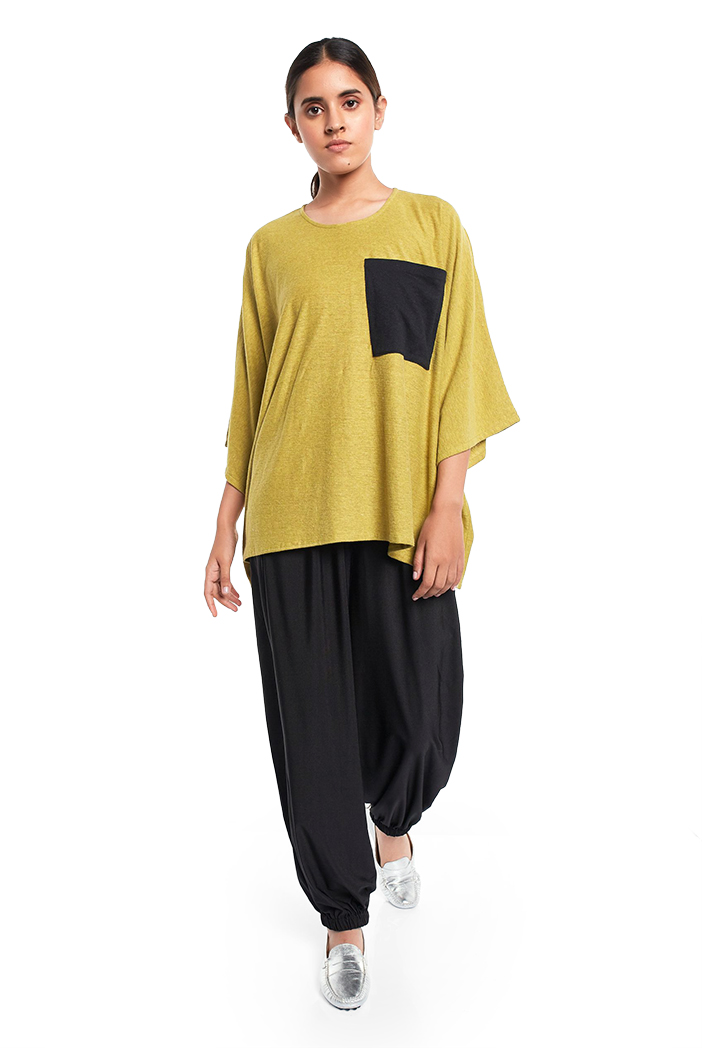 PS-TP0043  Lime Green Colour Jersey Kaftaan Top with Black Colour Jersey Pocket Detailing