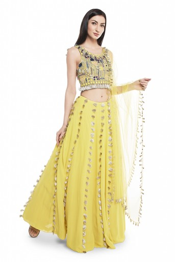 PS-LH0018  Lime Green Georgette Embroidered Back Tie-Up Choli with Lehenga and Net Dupatta