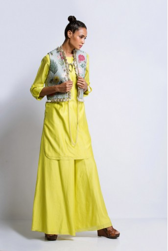 PS-ST0926 Lime Green Silkmul Kurat and Palazzo with Aqua Printed Dupion Silk Waist Coat