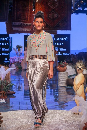 PS-FW668 Lucia Grey Georgette Crop Top with Velvet Salwar
