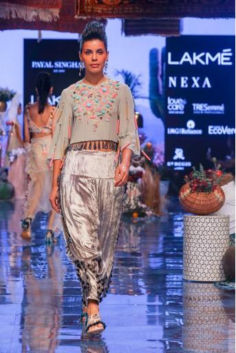 PS-FW668 Lucia Grey Georgette Crop Top with Velvet Salwar