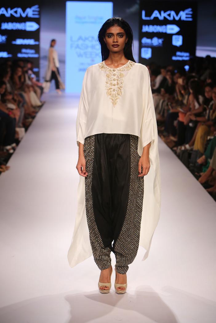 PS-FW348 Maaya Cream Silk Kaftaan Kurta with Black Silk Low Crotch Pant