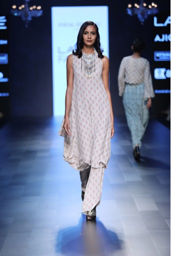 PS-FW439 Mae Blush Printed Crepe Cowl Kurta with Palazzo
