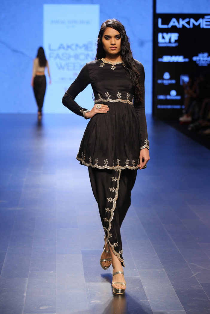 PS-FW412 Maheen Black silk Kurta with Petal Pant