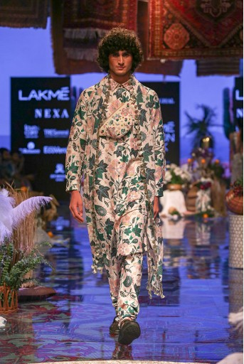 PS-FW631 Mahir Whited Printed Dupion Silk Kurta and Churidar with Georgette Dupatta