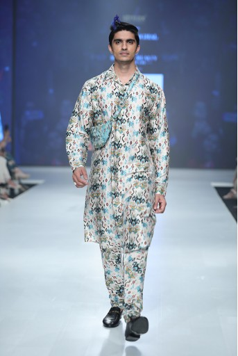 PS-FW631A Mahir Whited Printed Dupion Silk Kurta and Silkmul Churidar