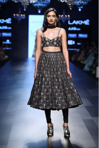 PS-FW459 Malika Black Dupion Silk Bustier ans Skirt with attached Soft Net Churidar and Mukaish Georgette Dupatta
