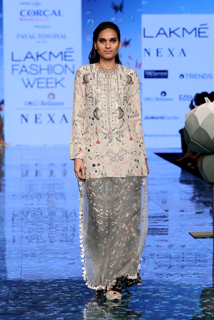 PS-FW704 Malisa Khaki Printed Crepe and Organza Kaftaan Tunic with Black Printed Crepe Sharara
