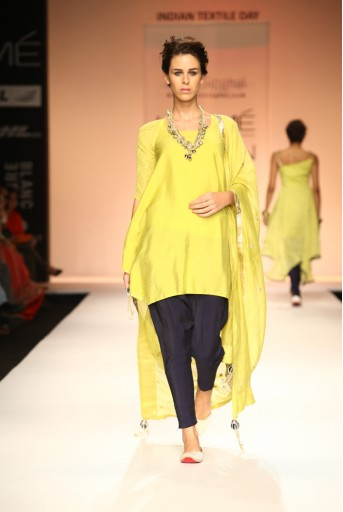 PS-FW175 Mannat Lime Yellow Cowl Kurta with Navy Low Crotch Pant and Silkmul Dupatta