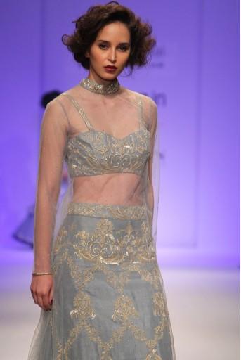 PS-FW335 Marie Dupion Silk Bustier and Skirt with Mukaish Net Overerlay Kurta