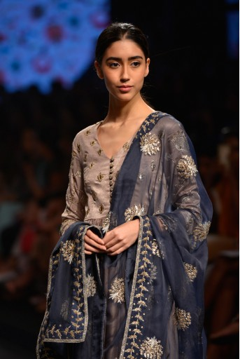 PS-FW383 Mastani Sand Suede Anarkali with Palazzo and Navy Organza Dupatta