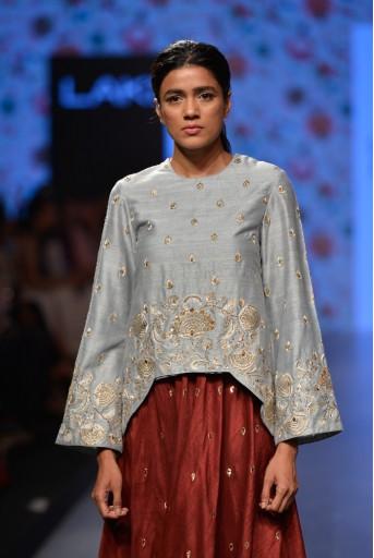 PS-FW388 Masum Powder Blue Dupion Silk Tunic With Pomegranate Dupion Silk Calf Length Skirt