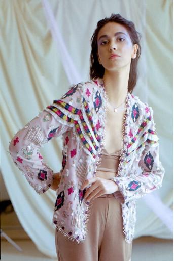 PS-JK0002 Meher Rose Pink Georgette Jacket