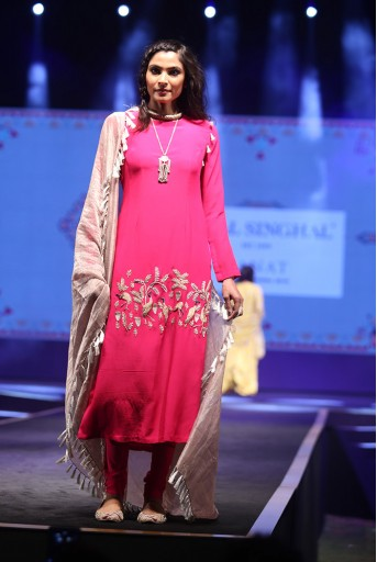 PS-FW592 Mehpar Hot Pink Crepe Kurta with soft Net Churidar and Grey Chanderi Stripe Dupatta