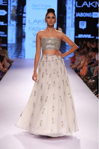 PS-FW313 Mehr Ivory Dupion Silk Bustier with Organza Skirt