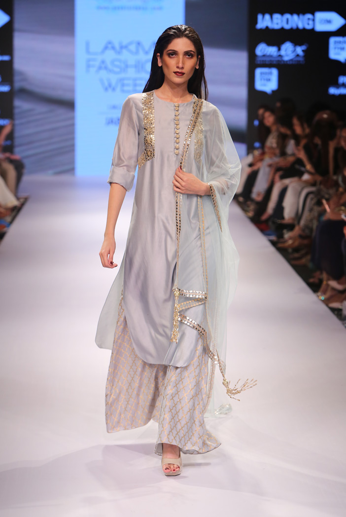 PS-FW365 Mehreen Powder Blue Silkmul Kurta with Banarsi Palazzo and Tulle Dupatta