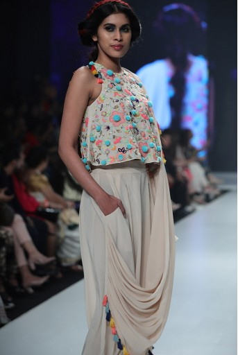 PS-SS0007 Mehru Stone Georgette Top with Crepe Low Crotch Pant and attached Georgette Drape
