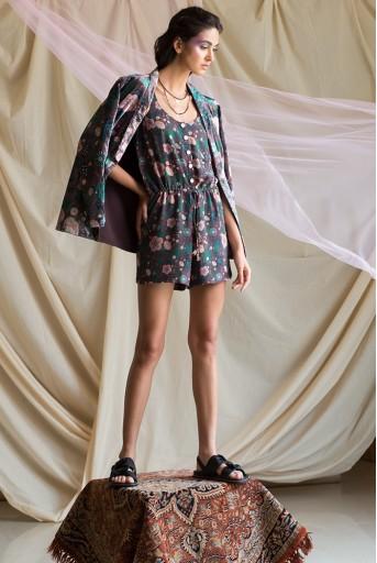 PS-JK0004 Melek Brown Printed Velvet Jacket