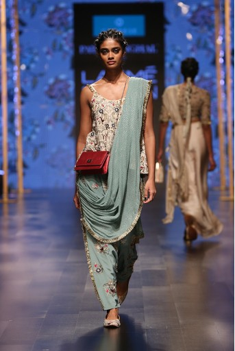 PS-FW581 Merunisa Stone Crepe Short Anarkali Top with Perwinkle Blue Crepe Low Crotch Pant and attached Mukaish Georgette Drape