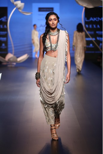 PS-FW505 Milana Grey Crepe Choli with Low Crotch Pant and attached Drape