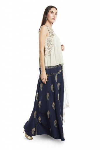 PS-ST0985-B-1  Mint and Navy Colour Silk Short Kurta with Navy Colour Silk Palazzo and Mint Colour Net Duaptta