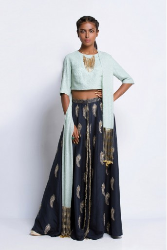 PS-FW430D Mint Mukaish Georgette Choli and Dupatta with Navy Silk Palazzo Lehenga