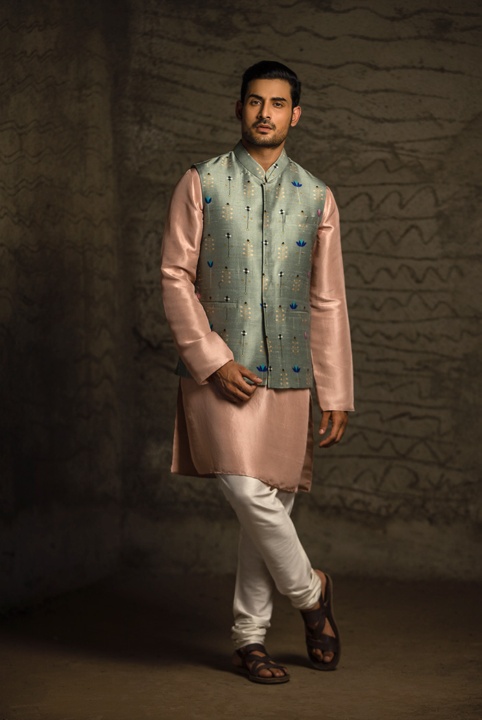 PS-MN061 Mint Printed Dupion Silk Bandi with Rose Pink Silk Kurta and Off White Cotton Silk Churidar