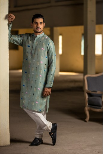 PS-MN039 Mint Printed Silk Kurta with Off White Cotton Silk Churidar