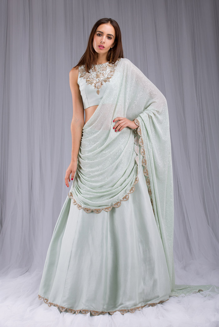 PS-ST0993 Mint Silk Choli and Lehenga with attached Mukaish Georgette Dupatta