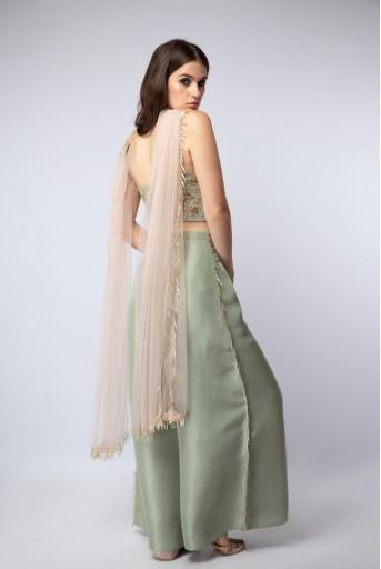PS-ST1107-C Mint Silk Tie-Up Choli and Palazzo Pants with Blush Net Dupatta
