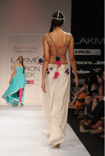 PS-FW151 Mirrorwork Backless Choli with Mukaish Palazzo